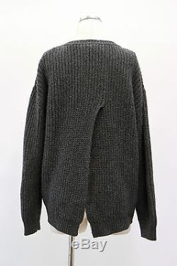 NWT $3185 Brunello Cucinelli Cashmere Gray Cable Knit Sweater With Slit Size L