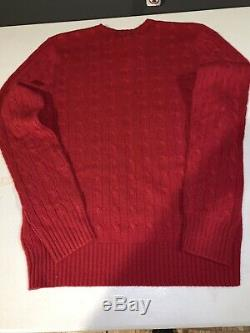 NWT $398 Polo Ralph Lauren 100% Cashmere Red Cable Knit Sweater Size Small