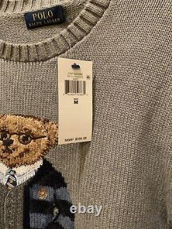 NWT $398 Polo Ralph Lauren Polo Preppy Football Bear Sweater In Gray Size M