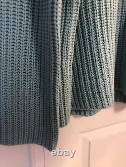 NWT $445 Vince Cable Knit Wool/ Viscose/cashmere sweater turquoise size XL