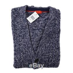 NWT $895 ISAIA Slim-Fit Cable Knit Melange Wool Cardigan Sweater XXL