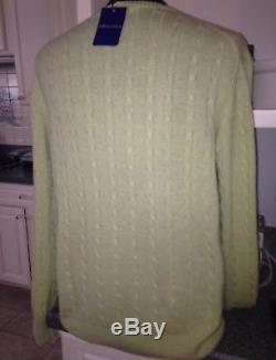 NWT Alan Flusser $278 Lime Green 100% Cashmere Cable Knit Fall Sweater SIZE XL