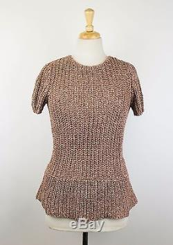NWT BRUNELLO CUCINELLI Brown Cotton Short Sleeve Cable Knit Sweater Size M $1425