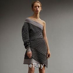 NWT BURBERRY one shoulder cable knit wool blend melange sweater dress grey 0 xs