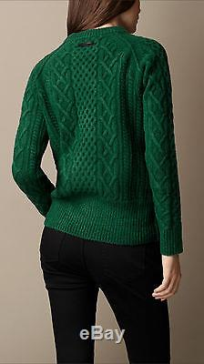 NWT Burberry Cable Knit Brit Wool Blend Sweater Forrest Green Thick Large L