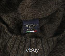 NWT EZZELINO SWEATER alpaca wool green cable knit 6-ply luxury Italy L