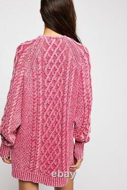 NWT FREE PEOPLE Sz M ON A BOAT CABLE KNIT MINI SWEATER DRESS