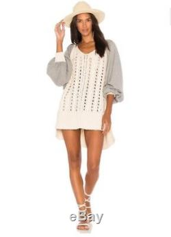 NWT Free People Ivory Cable Knit Gray Oversized Hideaway Sweater Tunic Sz M / L