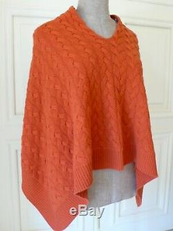 NWT HEMISPHERE Iconic Orange 100%Cashmere Cable Knit Poncho Cape Jumper Top 36
