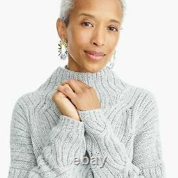 NWT JCrew Collection Cashmere Thick Cable-knit Turtleneck Sweater Heather Dusk L