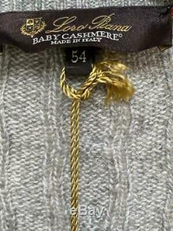 NWT LORO PIANA $1,695 100% BABY CASHMERE Cable Knit Sweater Grey Melange 54