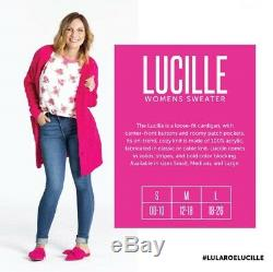 NWT LuLaRoe M LUCILLE SWEATER CARDIGAN CABLE KNIT GRAY PINK OVERSIZED POCKETS