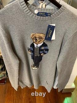 NWT Polo Ralph Lauren CARDIGAN BEAR Rugby Football GREY Knit Sweater size LARGE