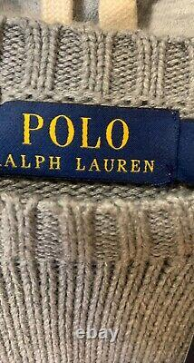 NWT Polo Ralph Lauren CARDIGAN BEAR Rugby Football GREY Knit Sweater size SMALL
