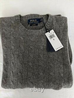 NWT Polo Ralph Lauren Men's Cable-Knit 100% Cashmere Sweater Gray Small $398