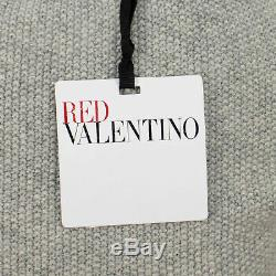 NWT RED VALENTINO Gray Embroidered Cable Knit Sweater Size XS $605