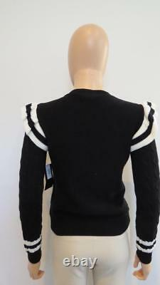 NWT RED Valentino Black withCream Stripes/Ruffle/Cable Knit Cotton Sweater Size XS