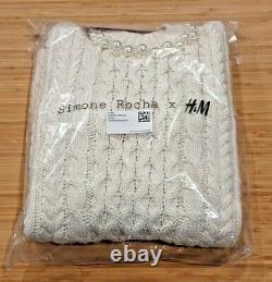 NWT Simone Rocha x H&M Cable Knit Sweater Men's Size XS, with faux pearl trim