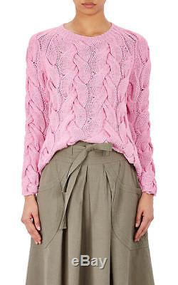 NWT ULLA JOHNSON Rouen Sweater Jumper Cotton Cable Knit Pullover Pink Orchid S