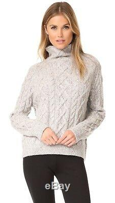 NWT Vince Cable Knit Wool Blend Turtleneck Sweater H. Grey/Off White S, M $395