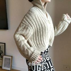 Nanushka cropped cable knit sweater alpaca wool half zip