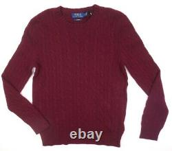 New $398 Polo Ralph Lauren Wine Red Cable Knit 100% Cashmere Sweater Size S
