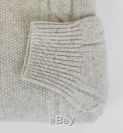 New BRIONI Men's Gray Wool Cable Knit Crewneck Sweater Size 54/44/XL $1750