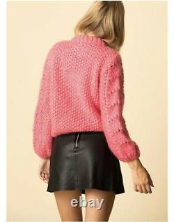 New GANNI Hot Pink Julliard Wool Mohair Cable-Knit Sweater Jumper Size s