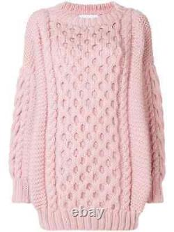 New I Love Mr Mittens Cable Knit Wool Sweater in Antique Rose Pink XS/S