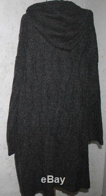 New J. JILL 4X Charcoal Gray L/S Cable Knit 2 Pocket Long Hooded Sweater Coat