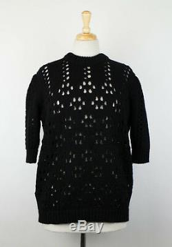 New MIU MIU Women's Black Cable Knit Short Sleeve Sweater Size 38/2 $790