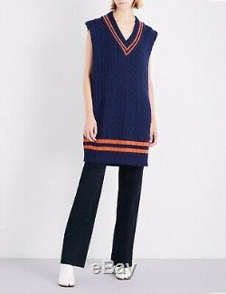 New Maison Martin Margiela Oversized Cable Knit Wool Cricket Sweater