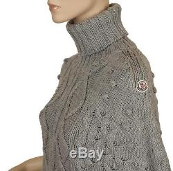 New Moncler Ladies Super Stylish Cable Knit Wool Poncho Turtleneck Sweater M