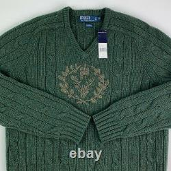 New Rare Vintage Polo Ralph Lauren Wool Crest Cable Knit Sweater Mens XL Green