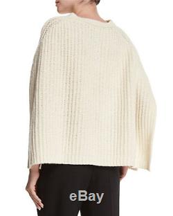 New Red Valentino Ivory Cable Knit Virgin Wool Cape, Size M, Made In Italy