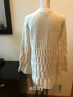 New Theory Ivory Wool Cashmere Cable Knit Long Sleeves Mini Sweater Dress Size S