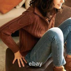 Nili Lotan Angela Cable Knit Half Zip Cashmere Sweater Jumper $950 Ivory & Brown