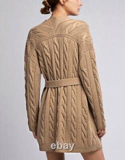 Nili Lotan Serene Wrap Cardigan XS/S Open Front Belted Cable Knit Cashmere NWT