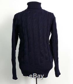 North Sea Clothing NAVY TURTLENECK CABLE KNIT SWEATER (SIZE 44)