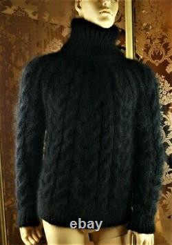 Not Brushed Mohair Handmade Cable Knit Black T-neck Pullover Sweater Jumper M