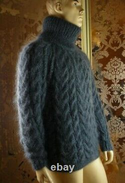 Not Brushed Mohair Handmade Cable Knit Gray T-neck Pullover Sweater Jumper L