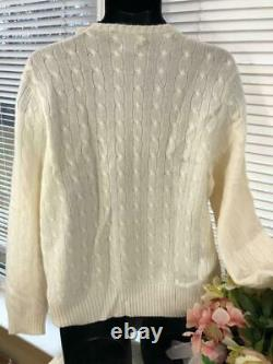 Nwt $397 Polo Ralph Lauren 100% cashmere cable knit sweater size larg SW300