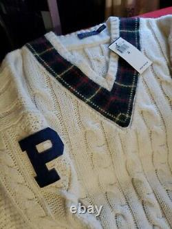 Nwt Polo Ralph Lauren V Neck Signature Sweater Cable Knit Size Med. Msrp 298.00