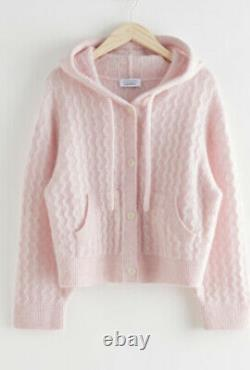 & OTHER STORIES Pink Knitted Cable Knit Hoodie Jacket S NWT