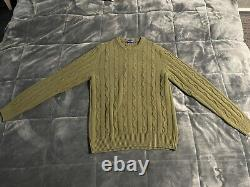 Olive Cable Knit Sweater (Small Size Christian Kimber)