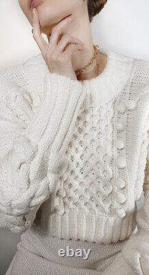 Oscar de la Renta ivory cream oversized cable knit chunky cropped crop sweater S
