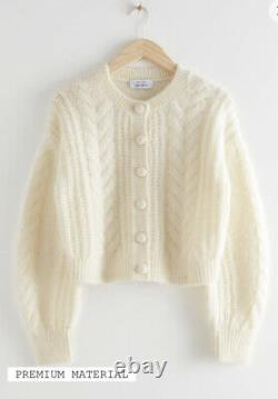 Other Stories Cropped Cable Knit Cardigan M BNWT