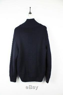 PAUL & SHARK Yachting 100% Wool Cable Knit Cardigan Jumper Navy Blue Large