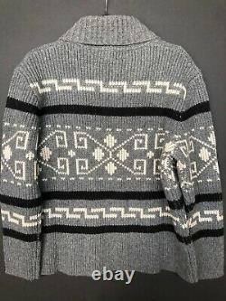 PENDLETON Large WESTERLEY Wool Cardigan BIG LEBOWSKI Sweater BLACK GRAY WESTERLY