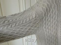 PIACENZA Taupe 100% Heavy Cashmere Hand-Knit Chunky Cable Sweater Jumper 52 IT